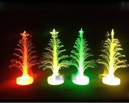 Table Charm Wholesale Australia - Merry LED Color Changing Mini Christmas Xmas Tree Home Table Party Decor Charm Drop Ornaments 2018