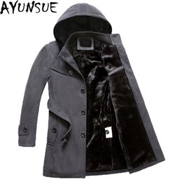 0e2ce90df4f AYUNSUE Men s black Jackets Winter Brand Men Woolen Coats Long Jackets And Coat  Male Velvet Thicken Plus Size 4XL Overcoat LX772
