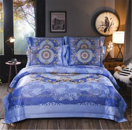 Bohemia Home Textile Jacquard Bedclothes Bed Set Digital Printing Luxury Bedding  Sets Satin Quilt Cover Bed Sheet Pillow Cases