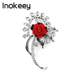$enCountryForm.capitalKeyWord Australia - Inokeey Red Fabric Flower Elegant Women Brooches Bouquet Pin Vintage Rhinestone Flower Jewelry Pins
