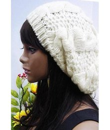 Moda Feminina Lady Beret Trançado Baggy OpenBeauty Beanie Crochet Hat Cap  Moda Branco 18117f4e5d2