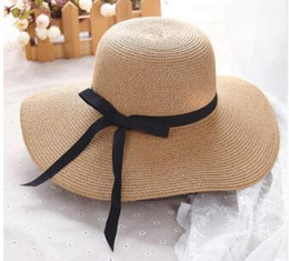 uv sun block Australia - Free Shipping Summer straw hat women big wide brim beach hat sun hat foldable sun block UV protection panama bone Free shipping