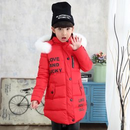 Wholesale Winter new letter large fur collar hooded long sleeved cotton padded girls in the big children s cotton jacket