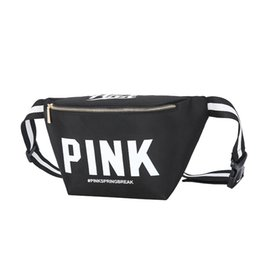 Water Tablets UK - Wholesale Unisex Waist Bag Pink Letter canvas Beach Bags Chest bag sports bag for phone Tablet pc Cosmetic ect