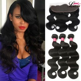 cheap virgin hair lace closures 2019 - Grade 8a Puvian Body Wave With Frontal Closure Peruvian Virgin Human Hair 3 Bundles With 13X4 Lace Closure Cheap peruvia