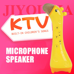 Bluetooth Toys Australia - Child Handheld Microphone with Voice Change KTV Karaoke Loudspeaker Built-in Battery use Bluetooth TF Card Connect Toys for Kids