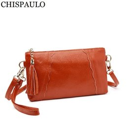 wholesale small evening bags NZ - Brand Designer Genuine Leather Women Small Shoulder Bag Fashion Women's Tassel Crossbody Bags Female Evening Party Clutch Bolsas