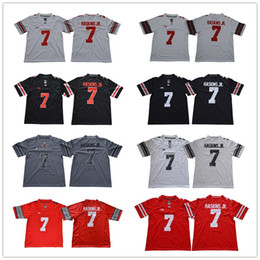 ae46df0a6 Men Ohio State Buckeyes #7 Dwayne Haskins Jr. Blackout red white gray  College football jerseys Cheap