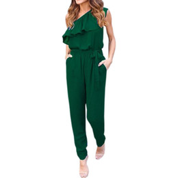 $enCountryForm.capitalKeyWord UK - Wholesale- Ruffles Chiffon Jumpsuits Plus Size Overalls Sexy Casual Summer Women One Shoulder Long Playsuits Rompers Womens Jumpsuit GV608