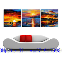 painting seascape boat Australia - Boat Sunset , 3 Pieces Home Decor HD Printed Modern Art Painting on Canvas (Unframed Framed)