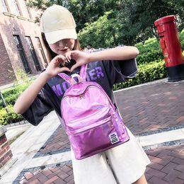 Discount plain white backpacks - Women Fashion Colorful Laser Backpacks Rainbow Colors School Bag PU Girls Handbag Big Capicity HOT Sale NNA265