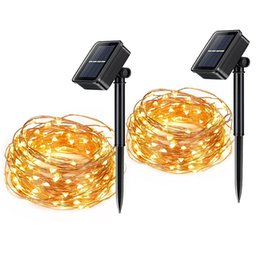 Wholesale 10m LED Solar Lamps Copper Wire Fairy String Patio Lights ft Waterproof Outdoor Garden Christmas Wedding Party Decoration