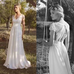 cheap t back wedding dresses 2019 - 2019 New Beach Chiffon Wedding Dresses V Neck Short Sleeve Lace Applique Bridal Gowns Vintage Hollow Back Wedding Dress