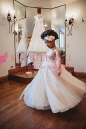 Hand Girl White Rose NZ - 2018 New Cute Rose Sequins Flower Girls Dresses Tulle A Line First Communion Dresses Girls Pageant Gown Custom Made Hot Sale