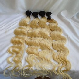 $enCountryForm.capitalKeyWord Australia - T1b 613 Ombre Brazilian Virgin Hair Bundles Dark Root Blonde Body Wave Human Hair Weaves Two Tone Double Weft Extensions 8-30 inch