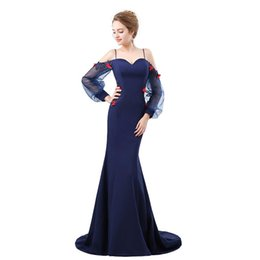 $enCountryForm.capitalKeyWord UK - Spaghetti Straps Mermaid Evening Gown Prom Dress 2018 New Long Sleeve Blue Backless Hand Made Flowers Formal Party Gown Dress 17-6620