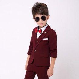 bb9b85bbda9 Wine red boy suit boy participates in formal occasion dress boy suit  three-piece suit (coat + pants + vest) children s costumes graduation s