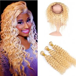 Discount russian blonde hair weave - New Arrival Blonde #613 Deep Wave Curly Hair Bundles With 360 Lace Band Frontal Russian #613 Human Hair Weaves With 360