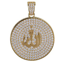 Chinese  Arab Religion Hiphop Pendant Necklaces For Men 2018 New Fashion Hip Hop Gold Plated Necklace Jewelry Luxury Cubic Zirconia Chains manufacturers