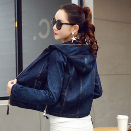 women zipper denim jackets Canada - Denim Jacket Women Jeans Basic Jacket Coat Hooded Outwear Slim Short Warm Overcoats Jeans Denim Female Coats & Jackets ZY2984
