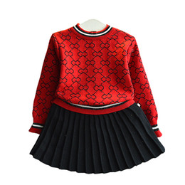 Cute Baby Girl Knitted Clothes Canada - Baby Girls Sets 2018 Cute Knitted Pullover + Pleated Skirts Suit Autumn Clothes for Children 3-8Y Kids Clothing