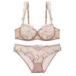 4fae1d6ecc wholesale Ultra-thin Transparent Lingerie Bra Set Sexy Push Up Underwear  Plus Size Deep V Women Bralette Young Girl Bra Set