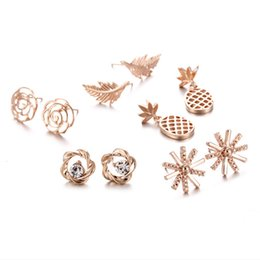 plates gift europe UK - Europe and America style 10pair lot 18K rose gold alloy ear studs jewelry Women's simple earrings are not easy to fade