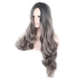 Discount long wigs side bangs Cheap Long Natural Wave Synthetic Black Mix Grey Hair Wigs Full Side Bang Wig for Women Heat Resistant Wig