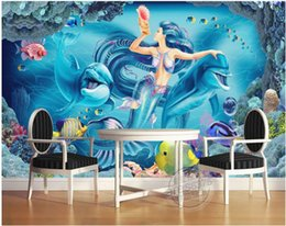 Oil painting dOlphins online shopping - 3d wallpaper custom photo mural Oil painting mermaid dolphins background living room Home decoration d wall murals wallpaper for walls d