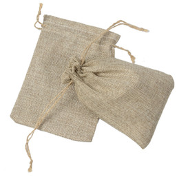 small jute bags wholesale NZ - NATURAL BURLAP BAGS Candy Gift Bags Wedding Party Favor Pouch JUTE HESSIAN DRAWSTRING SACK SMALL WEDDING FAVOR GIFT 50PC JUTE POUCH