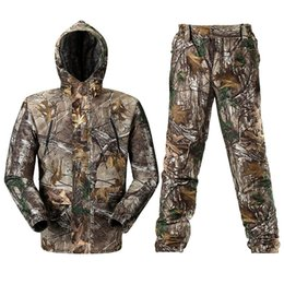 Full hunting camouFlage clothing online shopping - One Set Waterproof Realtree AP Camo Hunting Suit Realtree AP Camouflage Hoodies Bibs trousers Pants Hunting Fishing Clothing Hunter Uniform