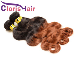 Discount auburn human hair wavy - Body Wave Malaysian Virgin Ombre Weaves 1B 30 Blonde Human Hair Bundles Cheap Colored Two Tone Medium Auburn Wavy Ombre