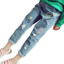 trend jeans Canada - Boys & Girls Hole Jeans Spring Summer Fall Style 2018 Trend Denim Trousers Kids Children Distrressed Hole Pants
