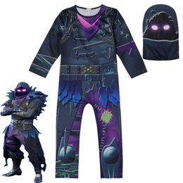 Vente en gros Jeu de Cosplay RAVEN Costume De Bande Dessinée Halloween Fête Enfants Garçons Fille Combinaison Zentai Body Catsuit Masque Tenues