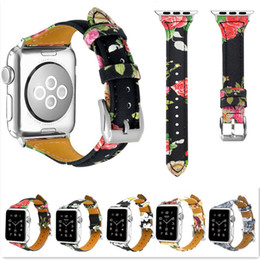 Discount wrist watch leather strap replacement - 42mm 38mm Genuine Leather Flower Printing Watch Bands Fashion Smart Wrist Straps with Metal Buckle for Apple iWatch Seri