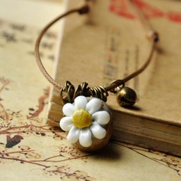 Handmade clay bead necklace online shopping - Ceramic Sweater Chain Handmade Hand knit Necklace Retro Flower Long Necklace Rope Bead Clothing Pendant Fashion Women Jewelry Color