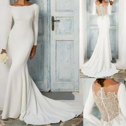 Großhandel Nach Maß langes Hülsen-Nixehochzeits-Kleid-elegante Kristall bördelte Brautkleid-Illusion zurück 2019 Hochzeits-Kleider
