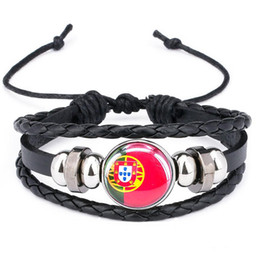 snaps for leather Australia - 2018 world cup Russian Spain France National Flag Cabochon Snap Charm Bracelet Adjust Size Leather Bracelet for Football Fans B18123