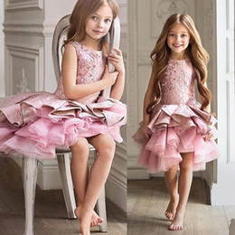 EvEning gowns for toddlErs online shopping - Gorgeous Pink Toddler Flower Girl Dress For Wedding A line Knee Length Beauty Pageant Dress Christmas Ruffles Girl Evening Party Gown MC1545