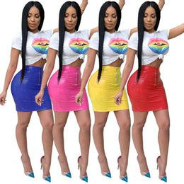 Two Shirts NZ - Sexy T-shirt+PU Skirt 2pcs Set Short Sleeve for Women Bestselling 2018 Summer Two-piece Sets Fashion Casual Party Nightclub Tees Skirt Suit