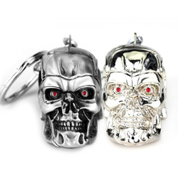 Jewelry girl skull online shopping - MOQ Silvery Jewelry Pendant Movie Terminator Skeleton Mask keychain Skull Key Ring For Men Car Key Chain