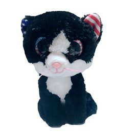 wholesale stuffed animal cat Australia - Ty Beanie Boos 6'' 15cm Freedom the Cat Plush Regular Soft Big-eyed Stuffed Animal Collectible Doll Toy