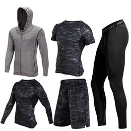 Gym Jogging Suit Men Canada - 2017 Warm 5pieces set Sports Running Sets Men Quick Dry Basketball Jogging Suits Compression Sports Gym Fitness Training Clothes