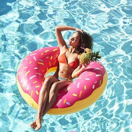 kids donut float Canada - 120 cm Large Donuts Swimming Ring Pool Floats for Adult Doughnut Pool Inflatable Donut Swim inflatable Circle Ring life boy kids