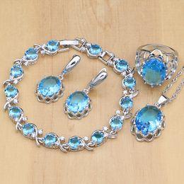 $enCountryForm.capitalKeyWord NZ - 925 Sterling Silver Bridal Jewelry Sets Sky Blue Stone White Crystal For Women Ring Earrings Pendant Bracelet Necklace Set