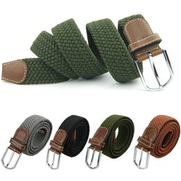$enCountryForm.capitalKeyWord Canada - Hot male military belt Top quality 3.5 cm wide Woven Stretch Braided Elastic Leather Buckle luxury canvas belts