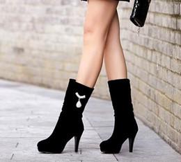 9f0781e65 Nuevos zapatos de tacón alto para mujer Diamantes de imitación Mujeres  Color negro Botas de terry Terry a media pierna