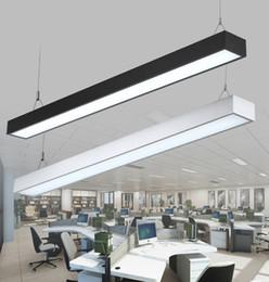 Discount aluminum pendant light fixture - 18W 36W 4ft 120cm offfice led pendant light rectangular aluminum hanging lights modern bar pendant lighting silver black