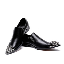 men evening black shoe UK - New Handmade Pointed Toe Metal Tip Spikes Slip On Dress Shoes Evening Party Wedding Shoes