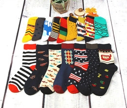 Colorful Cotton Socks Australia - Colorful Casual Mens Happy Socks High Quality Combed Cotton Men Socks Cartoon Designs Funny Crew compression Free Shipping